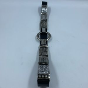 Chicos Belt Leather Large Black Silver Stretch